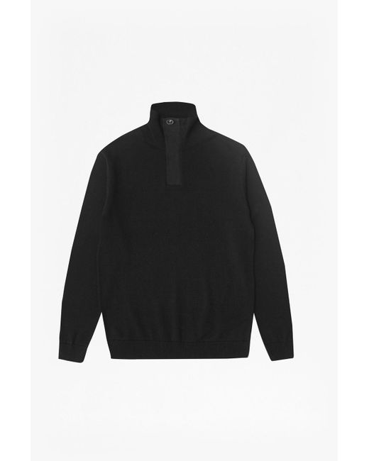 French Connection | Black Canvas Trim Half Zip Jumper for Men | Lyst