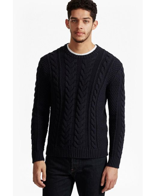 French Connection | Blue Flux Cable Knit Jumper for Men | Lyst
