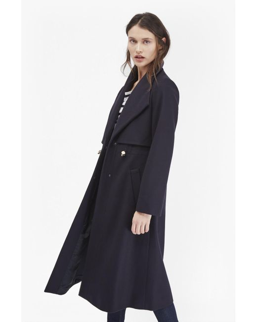 French Connection | Blue Runaway Wool Long Coat | Lyst