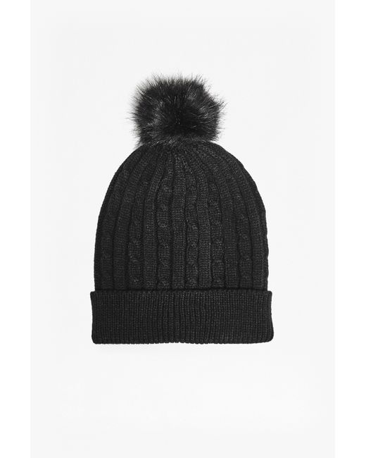 French Connection | Black Tilly Bobble Hat | Lyst