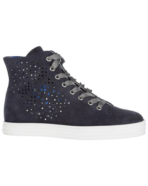 a256b1f2798 ... Hogan Rebel - Blue Shoes High Top Suede Trainers Sneakers R182 - Lyst  ...