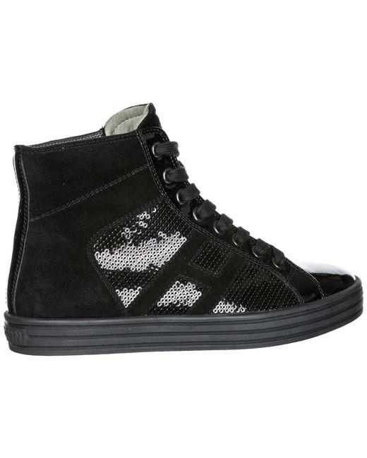 4428567751d ... Hogan Rebel - Black Shoes High Top Suede Trainers Sneakers R141 - Lyst  ...
