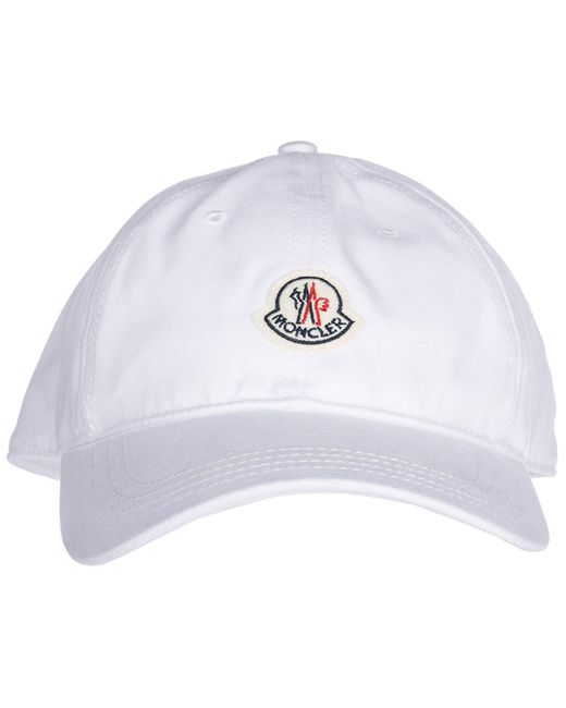 05db3ad70e4 ... Moncler - White Adjustable Cotton Hat Baseball Cap for Men - Lyst ...