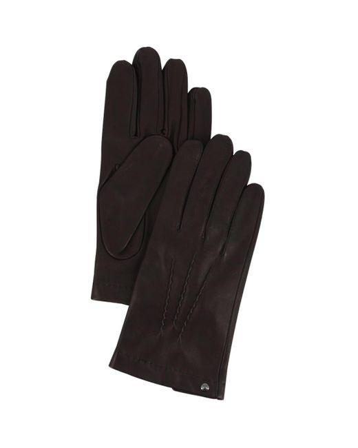 Gants en cuir d'agneau doublés soie Isotoner pour homme en coloris Black