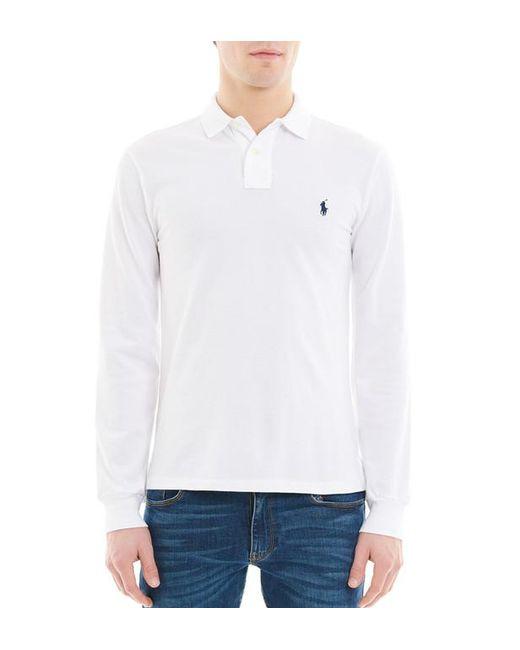 Polo Ralph Lauren - White Polo en coton piqué à manches longues slim fit  for Men ... 1ca358d5816b