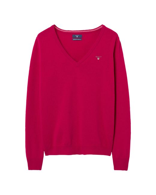 Gant - Red Super Fine Lambswool V-neck Sweater - Lyst
