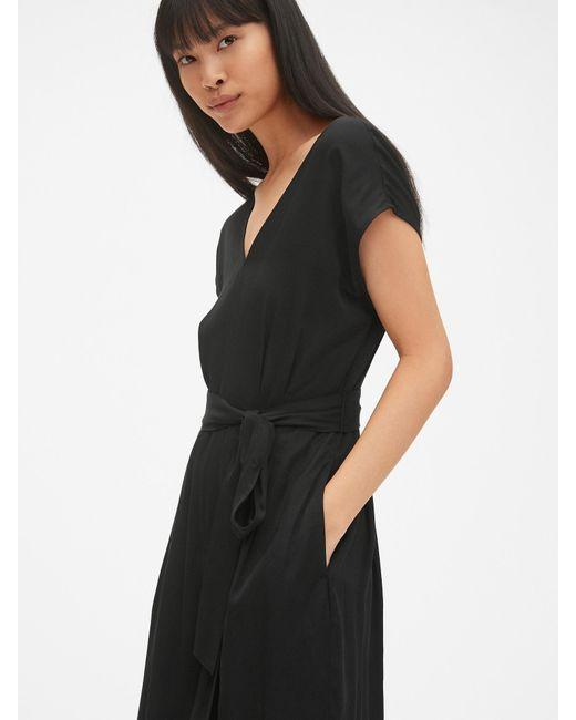 e560d1739e6 Gap - Black Kimono Sleeve Tie-belt Wide-leg Jumpsuit - Lyst ...