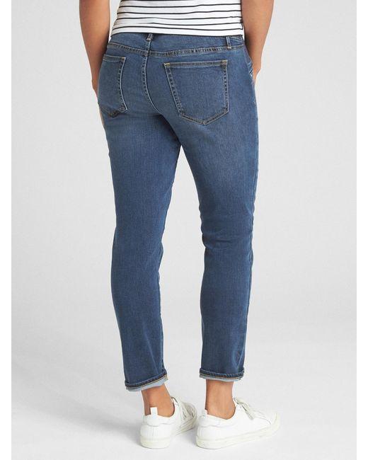 aaf35bd02a6c7 ... Gap - Blue Maternity Soft Wear Inset Panel Best Girlfriend Jeans - Lyst  ...