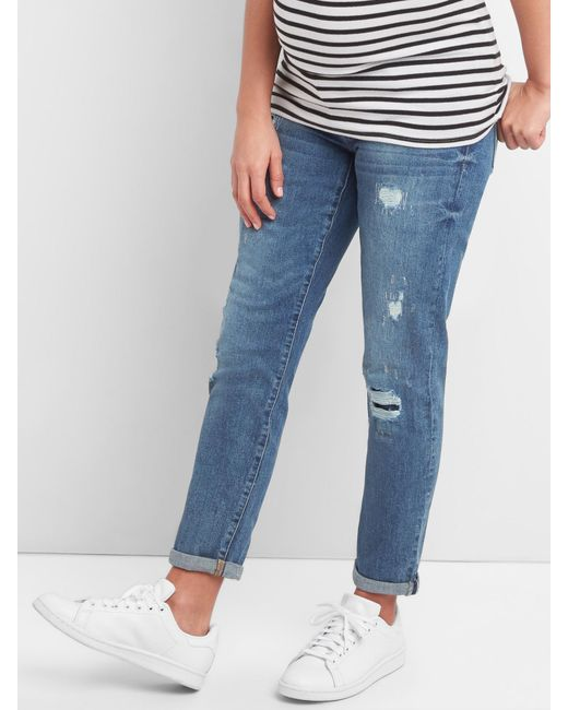 6a786689b9e28 Gap - Blue Maternity Inset Panel Repaired Best Girlfriend Jeans - Lyst ...