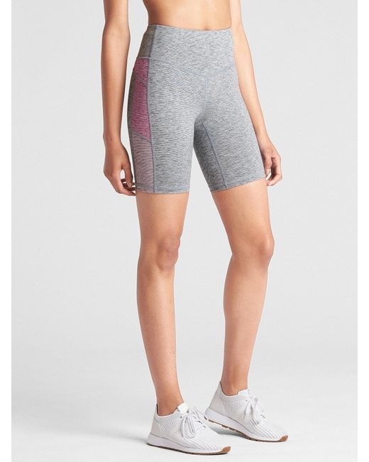 """Gap - Blue Fit Mid Rise 8"""" Colorblock Bike Shorts In Performance Cotton - Lyst"""