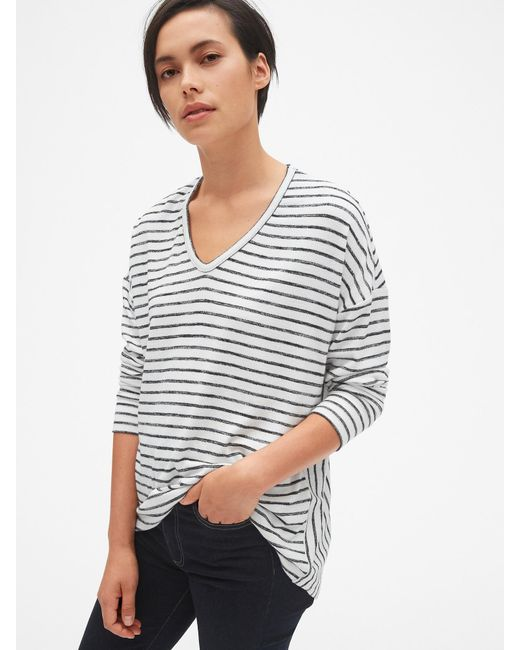 ee37e0eb16b25 Lyst - Gap Softspun Mix-fabric Hi-lo V-neck Top in Black