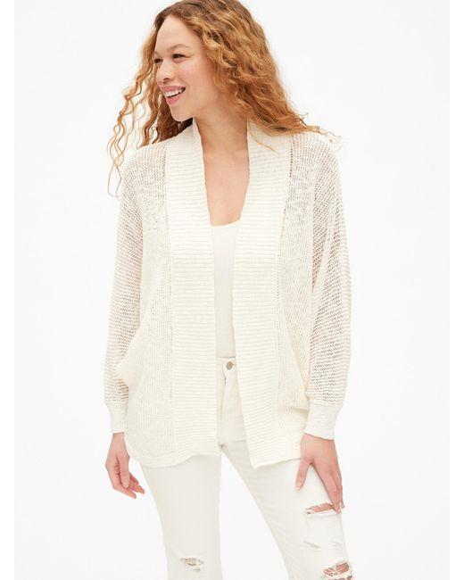 Gap - White Open-stitch Cocoon Cardigan Sweater - Lyst