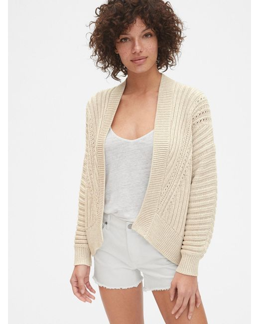Gap - Multicolor Pointelle Ribbed Cocoon Cardigan Sweater - Lyst
