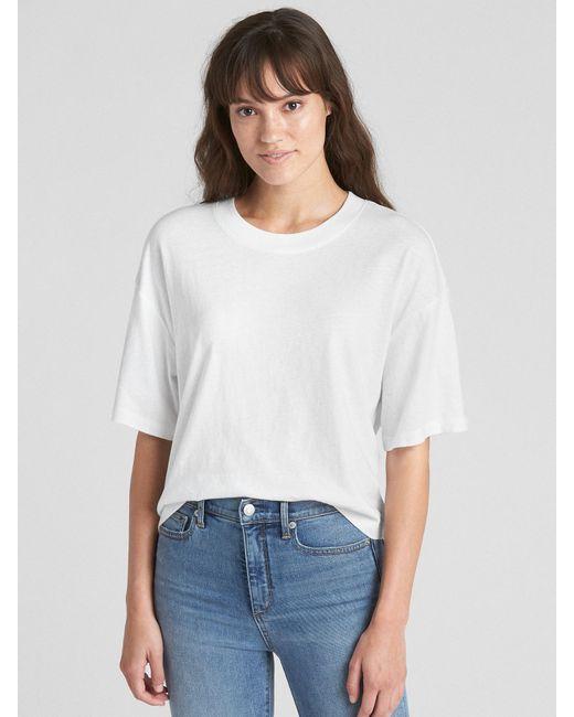 b0a12a5cbe65f1 Lyst gap crop short sleeve crewneck shirt in white jpeg 520x650 Gap crop  shirt