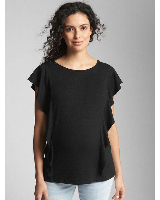 8163d1d8d3472 Lyst - Gap Maternity Softspun Flutter Sleeve Top in Black