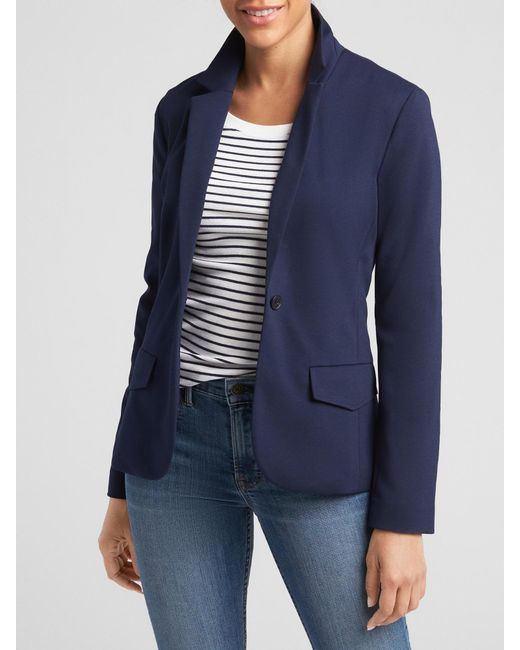 61e685664f5 GAP Factory - Blue Academy Blazer In Ponte - Lyst ...