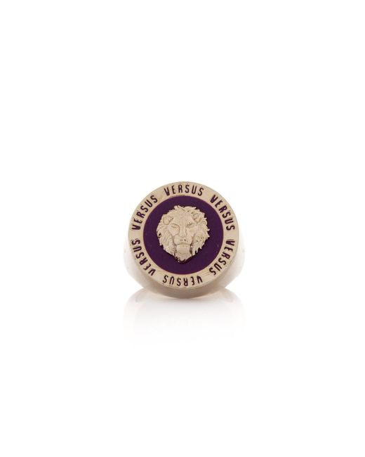 Versus  - Metallic Enamel Lion Head Disk Ring Purple/gold - Lyst