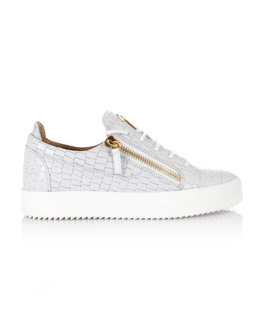 Giuseppe Zanotti - Frankie Croc Logo Low-top Sneakers White for Men - Lyst