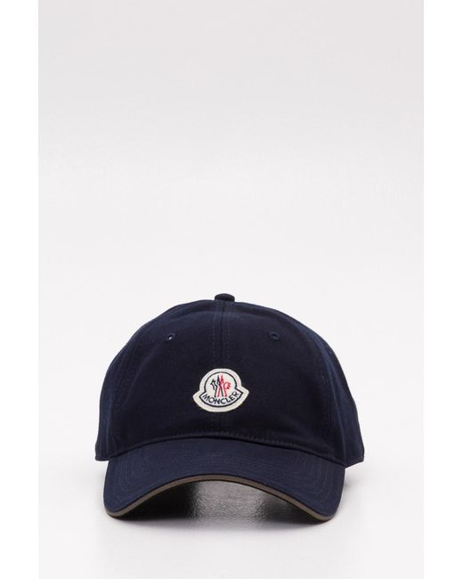60d80283550f Lyst - Moncler Logo Cotton Strapback Cap in Blue for Men