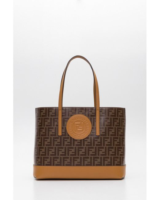 fa75150802 Lyst - Fendi Ff Shopping Tote in Brown - Save 29%