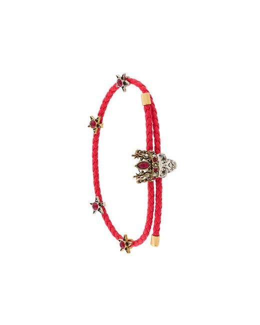 Alexander McQueen - Red Bracelet With Skull - Lyst