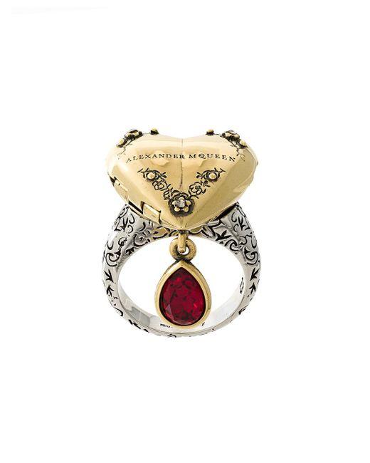 Alexander McQueen - Metallic Heart Locket Ring - Lyst