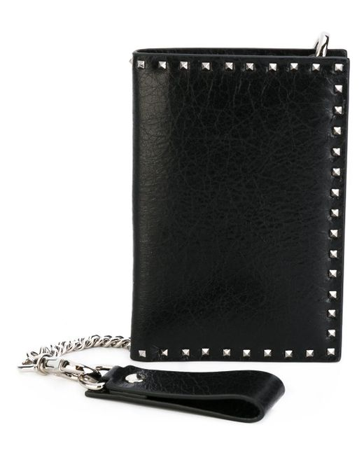 Valentino | Black Soul Rockstud Leather Wallet | Lyst
