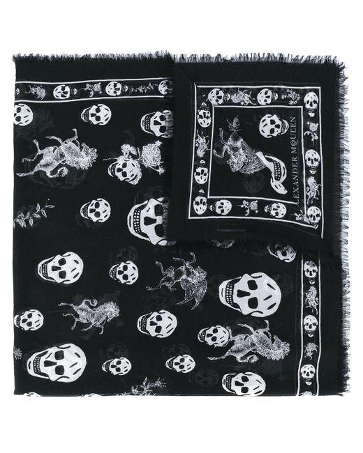 Alexander McQueen - Black Skull And Badge Scarf for Men - Lyst