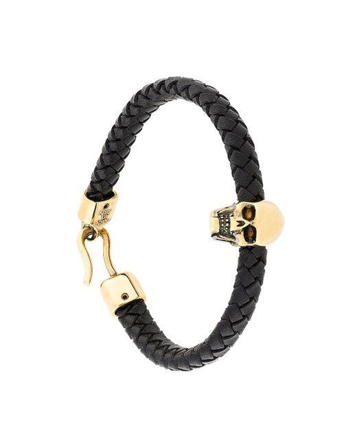 Alexander McQueen - Multicolor Skull And Woven-leather Bracelet for Men - Lyst