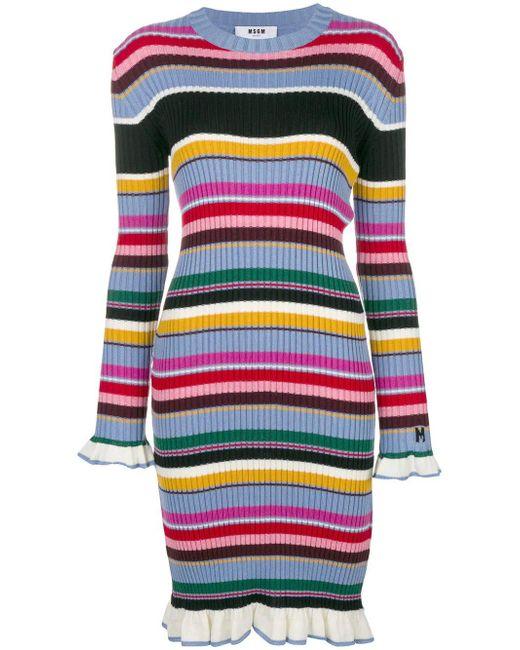MSGM - Multicolor Midi Dress - Lyst