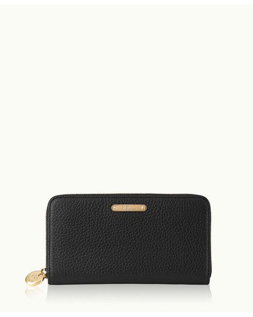 Gigi New York | Black Large Zip Around Wallet | Lyst