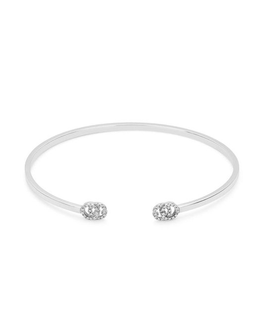 Gucci - Metallic Cuff gg Running Bracelet Xs In Gold And Diamonds - Lyst