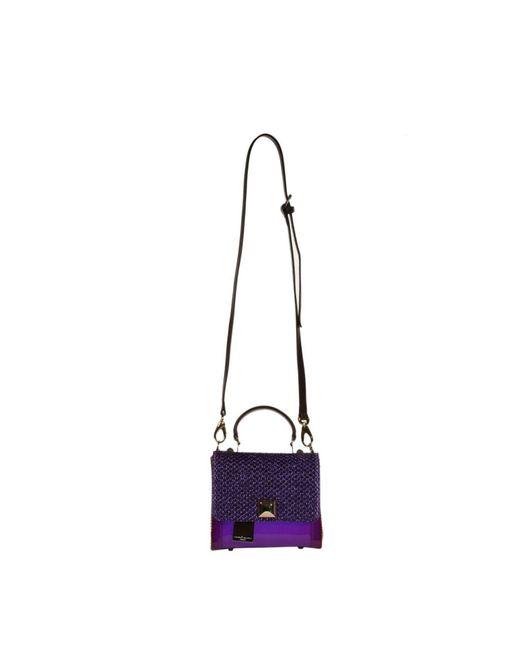 Hervê Guyel - Purple Mini Bag City Gloss Trunk Rafia - Lyst