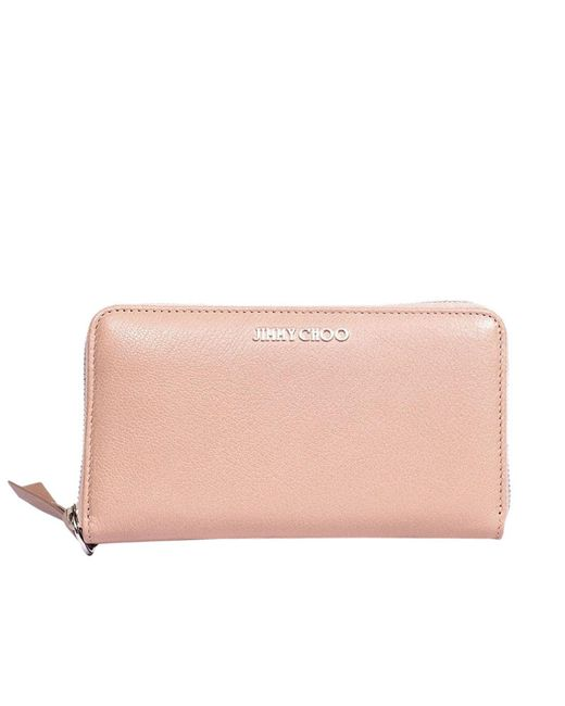 Jimmy Choo - Pink Pippa Continental Wallet In Leather With Metallic Logo - Lyst