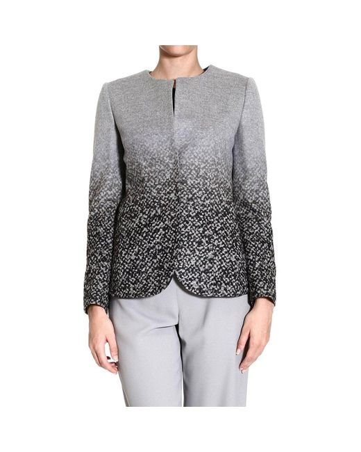 Giorgio Armani | Gray Blazer Neckless Draped Printed Jacket | Lyst