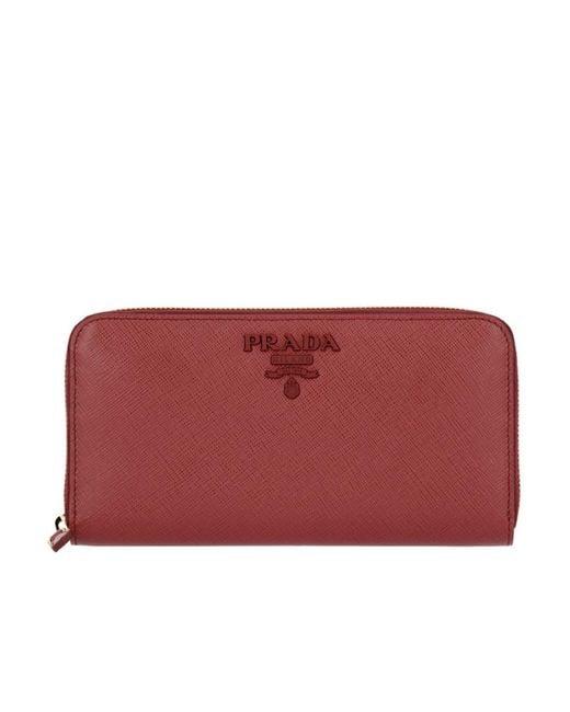 Prada - Red Wallet Women - Lyst