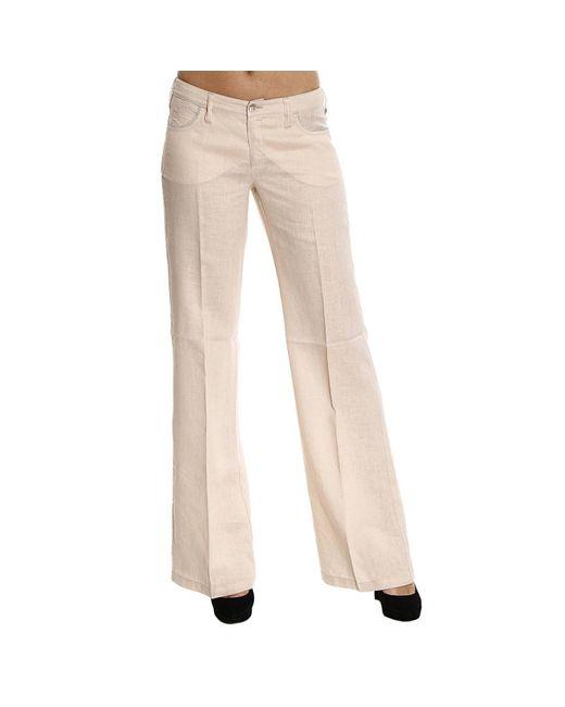 Armani Jeans | Natural Jeans Lino Dettagli Lurex Zampa | Lyst