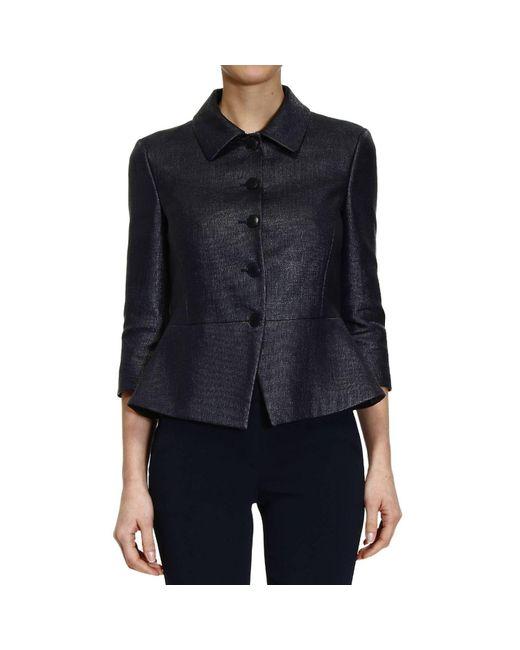 Emporio Armani   Blue Blazer Jacket Mat With Baschina   Lyst