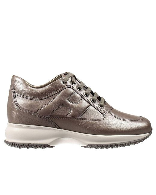 Hogan | Metallic Sneakers Interactive Padded H Pearl Leather | Lyst