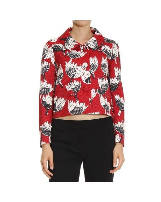 Boutique Moschino | Green Printed Cotton and Silk-blend Jacket | Lyst