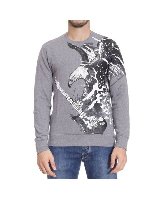 Just Cavalli | Gray Diamond-knit Cardigan for Men | Lyst
