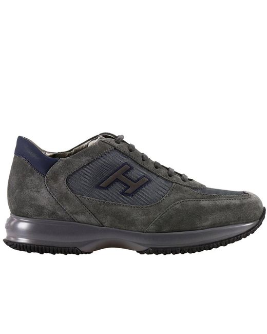 Hogan | Gray New Interactive H Vintage Round Toe Suede Sneakers for Men | Lyst