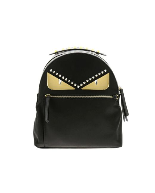 Fendi - Black Monster Eyes Nylon And Leather Backpack With Bag Bugs Eyes Metal Patch - Lyst