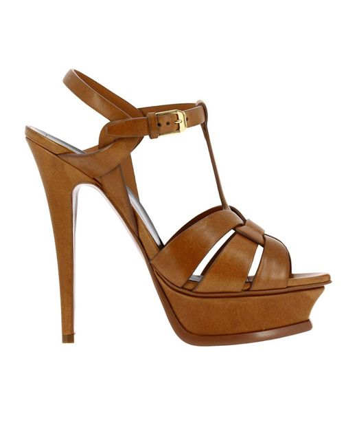 Saint Laurent - Brown Tribute Leather Sandals - Lyst