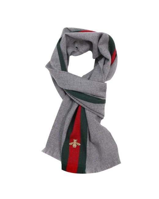 Gucci | Gray Scarf 37 X 180 Cm In Cashmere Wool With Web And Bee Pattern | Lyst