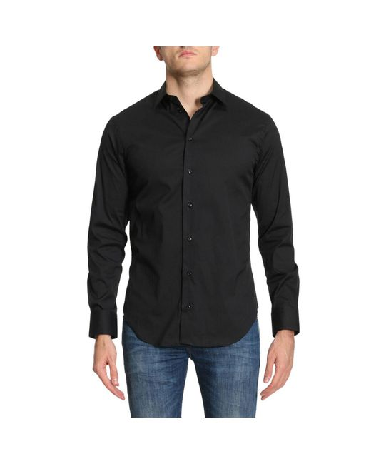 Emporio Armani | Black Shirt Men for Men | Lyst