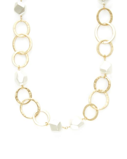 Kenneth Jay Lane - Metallic Circles Link & Pearl Station Necklace - Lyst