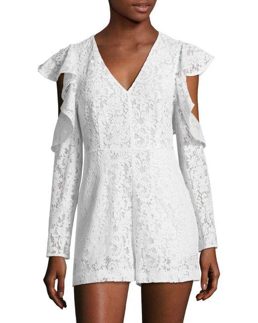 BCBGMAXAZRIA - White Lace Ruffle Sleeve Romper - Lyst