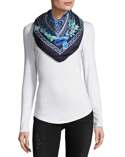 Saks Fifth Avenue - Blue Foulard Silk Scarf - Lyst