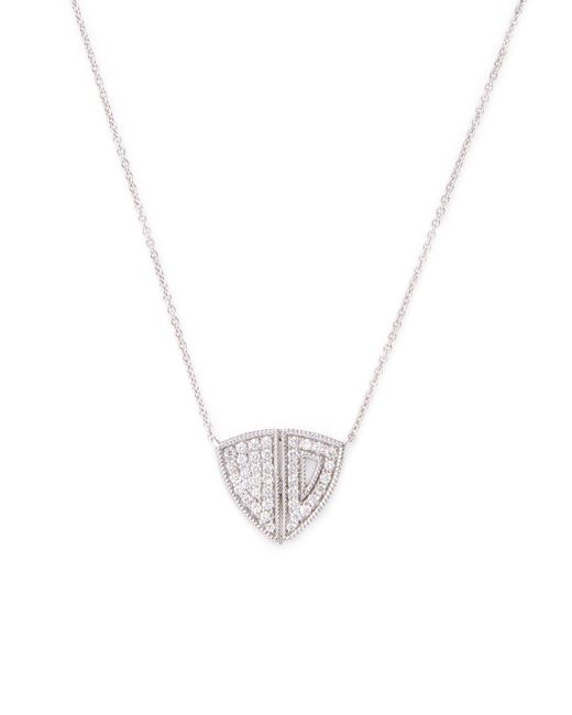 Dana Rebecca | Metallic Aria Selene 14k White Gold & 0.22 Total Ct. Diamond Shield Pendant Necklace | Lyst